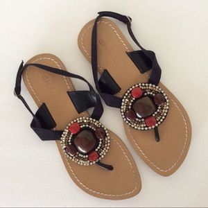 SKEMO LEATHER BEADED BOHO SANDALS SIZE 8
